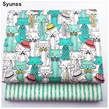 New Printed Twill Cotton Fabric diy sewing baby cloth Quilting kids bedding textile Patchwork Fabric diy tecido Blue Fox Stripes