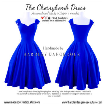 Royal BLUE Cherrybomb Swing Dress by Hardley Dangerous Couture, 1950s Style Bridesmaid Wedding Party Dress, Punk Rock n Roll Prom