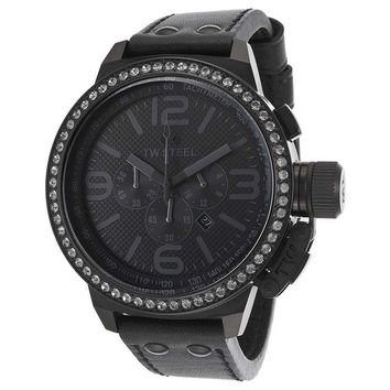 TW Steel TW913 Women's Canteen Swarovski Crystal Accented Bezel Black Dial Black Strap Chrono Watch