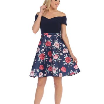 Short Cocktail Floral Print Sexy Dress