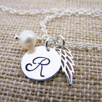 Angel Wing Personalized Initial Swarovski Birthstone Sterling Silver Necklace / Gift for Her