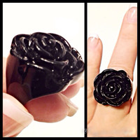 * FREE SHIPPING....(code FREESHIP2014) Huge Black Rose Ring Acrylic Fun for Halloween Gothic Romantic