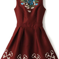 Wine Red Sleeveless Embroidery Sheath A-Line Mini Pleated Dress