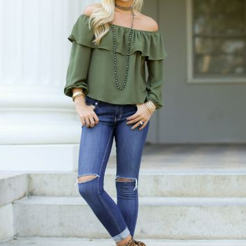 Beauty In Believing Olive Green Off The Shoulder Top