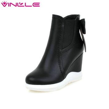 VINLLE 2016 Sweet Bow Tie Autumn Women Shoes White Ladies Wedges High Heel Ankle Boots Women Platform Fashion Boots Size 34-42