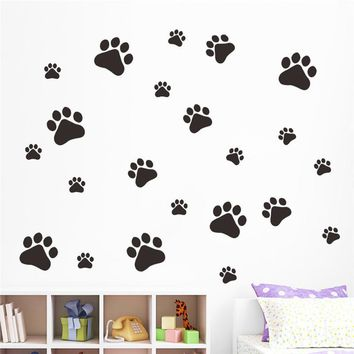 Dog Cat Walking Paw Prints Wall Stickers