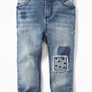 Embroidered-Patch Boyfriend Jeans for Toddler Girls |old-navy