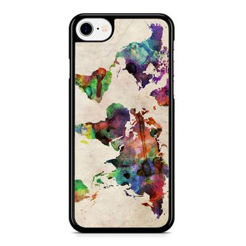 World Map Urban Watercolor iPhone 8 Case