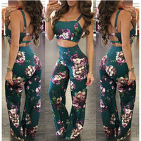 Floral Backless Midriff Vest Top and Loose Pants