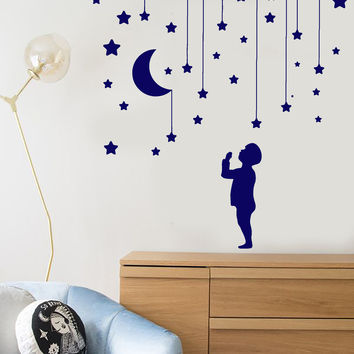 Vinyl Wall Decal Star Moon Little Boy Decor For Nursery Dream Stickers Unique Gift (1147ig)