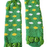 Riverstone Goods Soft and Cuddly Animal Slipper Socks With Grips (Frog, Bumble Bee, Ladybug, Pink Mouse)