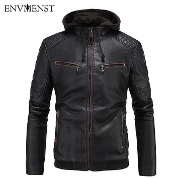 Men's England Style Faux Leather Motorcycle Jacket