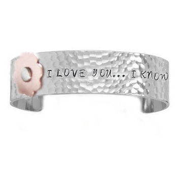 Riveted Flower Hammered Hand stamped Cuff Bracelet Custom Personalized Jewelry Star Wars