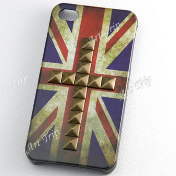 iPhone 4 Case iphone 4s case  Vintage Flags studded by ArtTrip