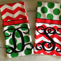 Christmas Chevron Hand Towel Polka dots Initial Towel for Bath or Kitchen Home Decor