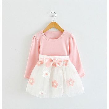 Patchwork Flower Girl Clothes Autumn Floral Baby Girl Dress Formal Kids Infant Clothing Bow Tutu Dress First Birthday Dresses