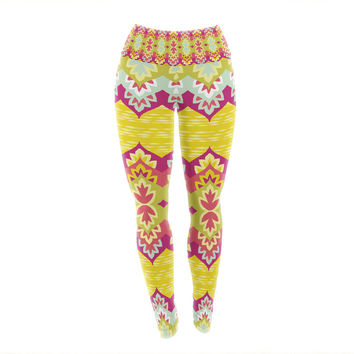 "Amanda Lane ""Bohemia"" Yellow Pink Yoga Leggings"