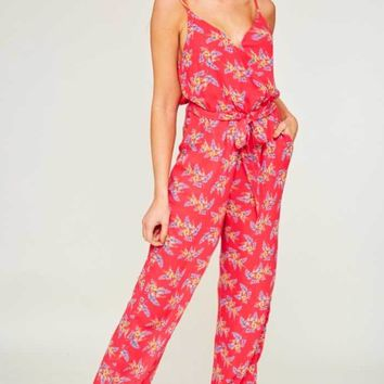 Cherry Red Floral Jumpsuit