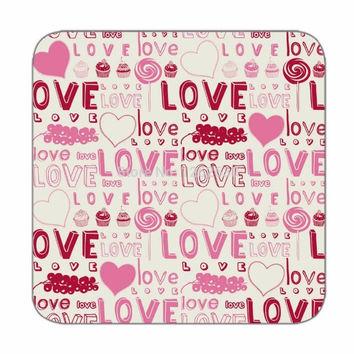 Coaster set of 4 in typo LOVE pattern in pink color for Table coasters Custom drink coasters