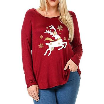 Christmas Elk Printed T-Shirt Womens Plus Size Ladies Long Sleeve Oversized Casual Loose Tops Shirts Cropped Feminino #YL
