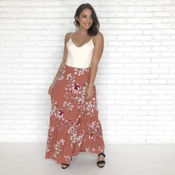 Falling For Floral Maxi Skirt in Rust