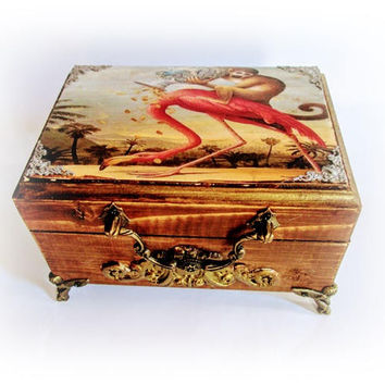 Vintage Pink Flamingo Jewelry Box Trinket Box Personalized Wood Box Antique Decoupage Box Money Talisman Lucky Treasure Box Monkey Box