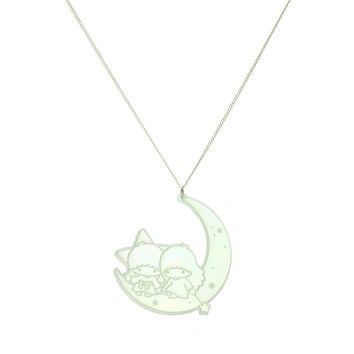 Little Twin Stars® Moon Necklace in Iridescent Hologram