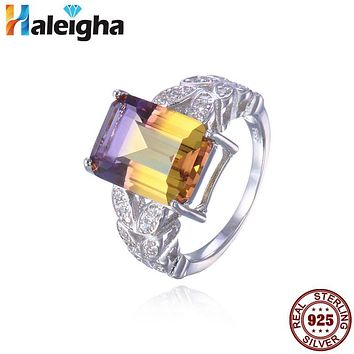 Alluring Bi Color Yellow Purple Created Ametrine 925 Sterling Silver Rings for Women Fine Jewelry Princess Cut anillos hombre