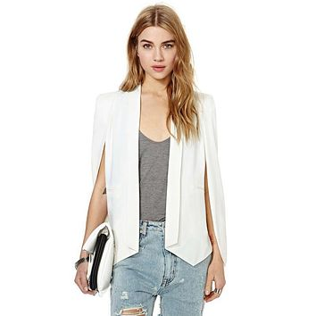 XS-XXL 6 Size Cloak Cape Blazer Women Coat White Black Lapel Split Long Sleeve Pockets Solid Casual Suit Jacket Workwear