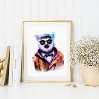Lemur HIPSTER Watercolor Art Fashion Print Watercolor Animal Hpister Printable Instant Download High Fashion Poster Waterclor Bear Poster