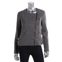 Calvin Klein Womens Knit Heathered Motorcycle Jacket