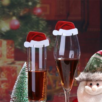 10Pcs/lot Christmas Decorations for Home Table Place Cards Noel Natal Santa Hat Wine Glass New Year Party Supplies