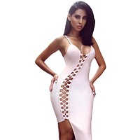 Light Pink Asymmetric Lace Up Bandage Dress LAVELIQ