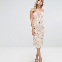 Starlet Cami Strap Midi Dress with All Over Embellishment at asos.com
