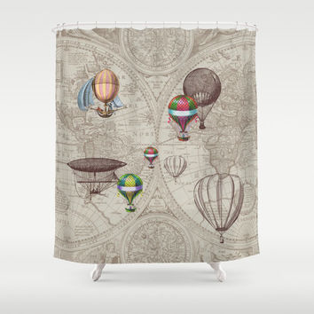"Hot Air Balloon Style Shower Curtain -""Balloon Festival"" antique map - derigibles, retro Steampunk Home Decor Bathroom  travel  brown, beige"
