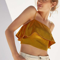 Silence + Noise Satin Ruffle Cropped Cami | Urban Outfitters