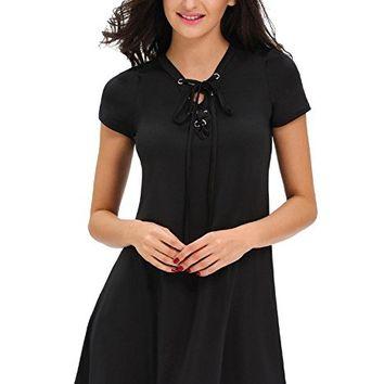 Women's Casual V Neck Lace Up Short Sleeve A-Line Swing Mini Dress