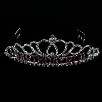 Pink Birthday Girl Crystal Rhinestone Metal Tiara