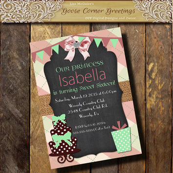 Argyle Sweet 16 Birthday invitation 1st 2nd 3rd 4th 5th Cake Pink Mint Burlap Chalkboard Baby Shower Bridal