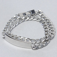 Mister The Double Wrap Metal Bracelet in Stainless Steel