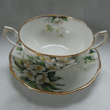Royal Albert Double Handled Cup Saucer Plate Orange Blossom Gilt Wedding Anniversary Birthday Day Gift