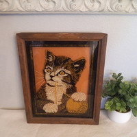 Vintage Kitty Cat with Yarn Ball Painted on Glass ~ Framed Picture