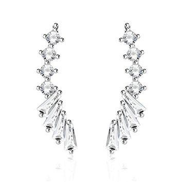 BodyJ4You Pair of CZ Paved Lined Crystal Clear Ear Crawler Silvertone Ear Climber
