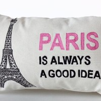 "Amore Beaute Handcrafted Decorative Throw Pillow Cover with Paris Is Always a Good Idea and Eiffel Tower in Pink and Black -Audrey Hepburn Quote- Gift for Her- White Lumbar Pillow Case - Wedding Anniversary Birthday Gift - 12"" X 20"""