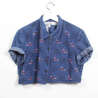 Vintage Denim Crop Top 1990s Blue Jean Cropped Top Collared Shirt Soft Grunge Embroidered Boxy 90s Mini Baby Tee Textured Chambray M Medium