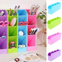 4 Compartment Desktop Storage Box Organizer Plastic Cosmetic Makeup Desk Holder