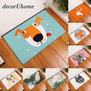 decorUhome Entrance Waterproof Door Mat Cartoon Fox Koala Kitchen Rugs Bedroom Carpets Decorative Stair Mats Home Decor Crafts