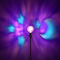 The ORIGINAL Hand-Painted Purple Moon & Stars Mood-Light Bulb 4 Color Therapy, Night Lights, Parties, Mood Lighting