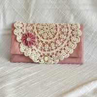 Clutch, Small Purse, Handmade, Pink Damask and Ecru Vintage Crochet, Upcycled, Repurposed, Vintage inspired, Vintage Chic