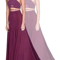 To The Point Burgundy Wine Spaghetti Strap Halter Crisscross Strap Crop Tank Top Maxi Two Piece Dress